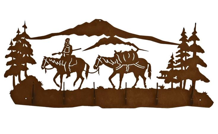 Mountain Man with Horses Scene Six Hook Metal Wall Coat Rack