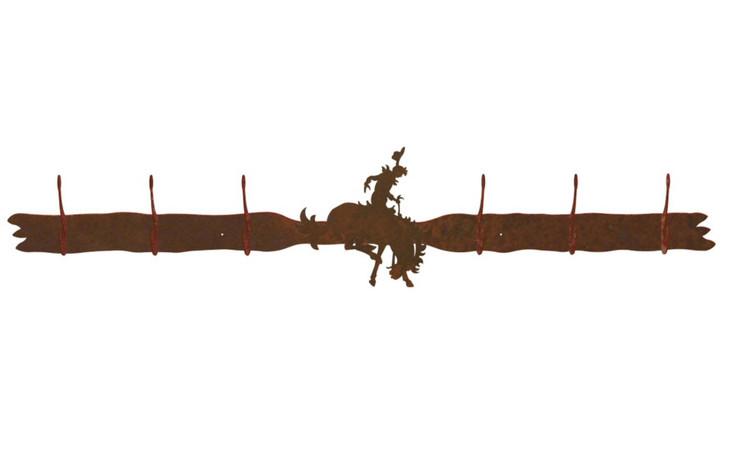 Bucking Bronco Rider Six Hook Metal Wall Coat Rack
