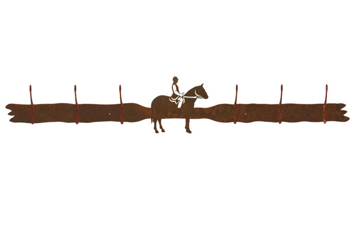 English Horse Rider Six Hook Metal Wall Coat Rack