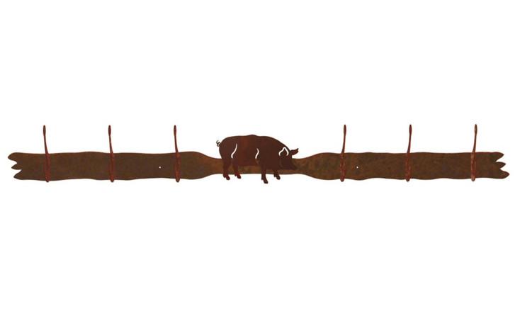 Pig Six Hook Metal Wall Coat Rack