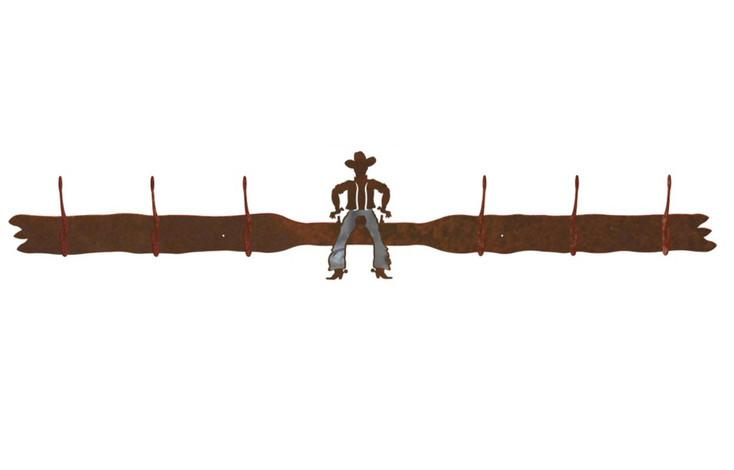 Burnished Cowboy Drawing Pistol Six Hook Metal Wall Coat Rack