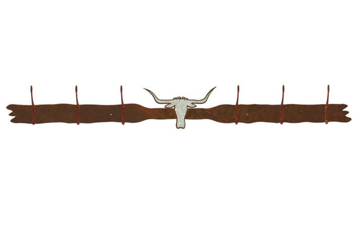 Burnished Longhorn Steer Six Hook Metal Wall Coat Rack