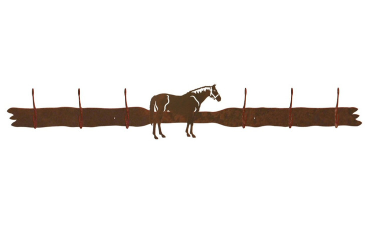 Bay Horse Six Hook Metal Wall Coat Rack