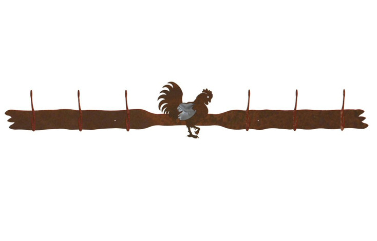 Burnished Rooster Six Hook Metal Wall Coat Rack