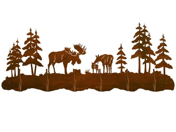 Moose Family and Pine Trees Scenic Six Hook Metal Wall Coat Rack