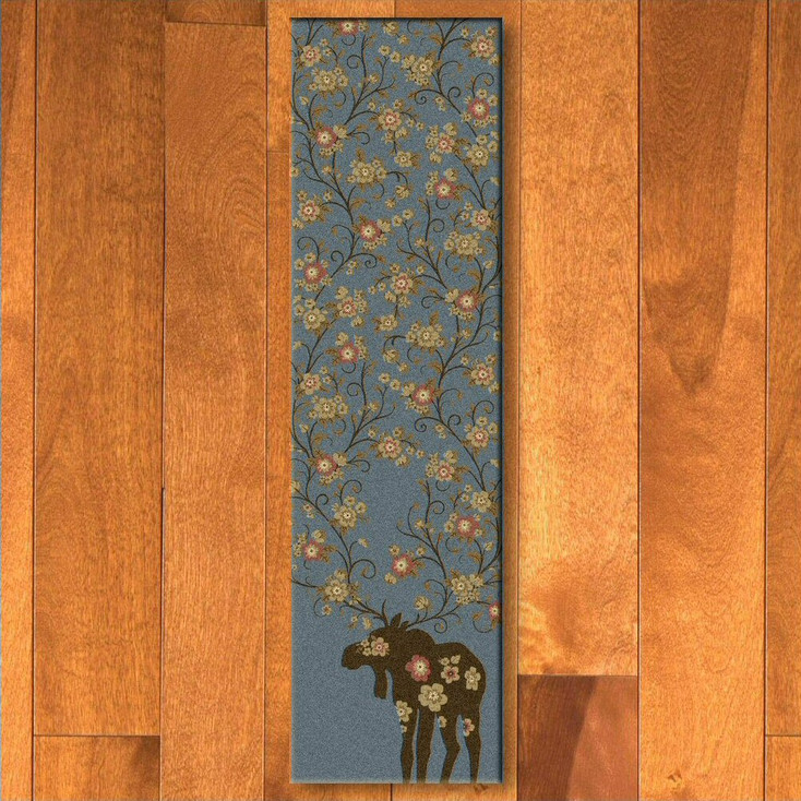 2' x 8' Abstract Moose Blossom Blue Wildlife Rectangle Runner Rug
