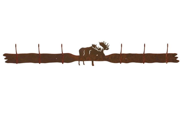 Moose Six Hook Metal Wall Coat Rack