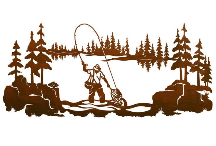 "57"" Fly Fisherman Fishing Metal Wall Art"