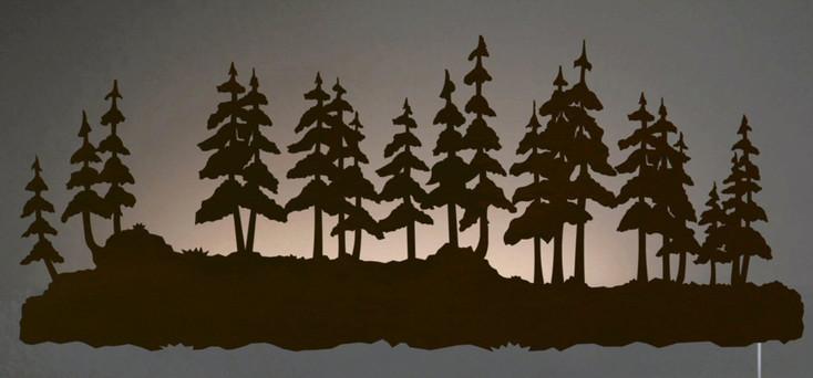 "42"" Pine Forest LED Back Lit Lighted Metal Wall Art"