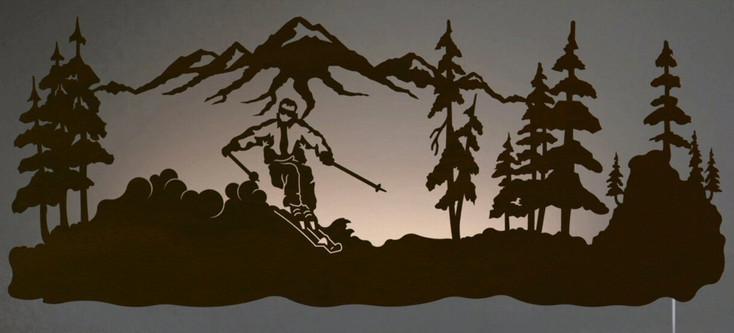 "42"" Skier LED Back Lit Lighted Metal Wall Art"