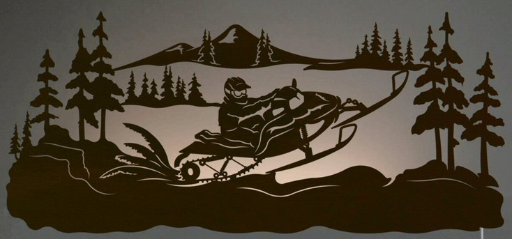 """42"""" Snowmobile Rider Scenic LED Back Lit Lighted Metal Wall Art"""