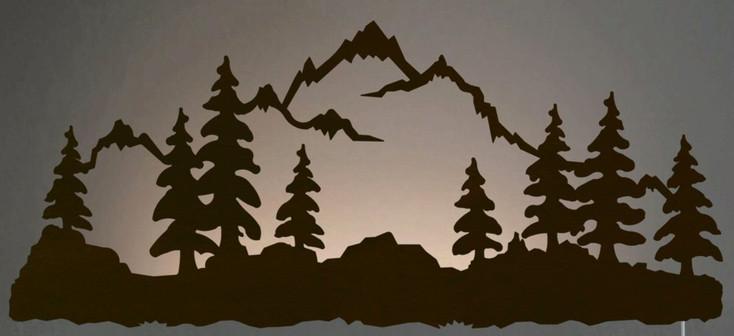"""42"""" Mountain Scene LED Back Lit Lighted Metal Wall Art"""