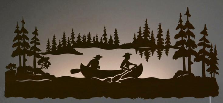 """42"""" Canoe Scenic LED Back Lit Lighted Metal Wall Art"""