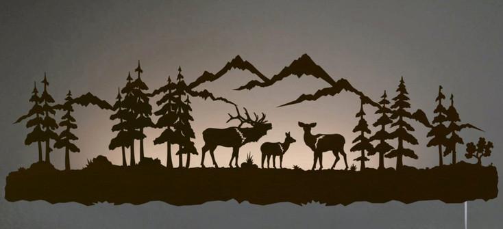 """42"""" Elk Family LED Back Lit Lighted Metal Wall Art"""