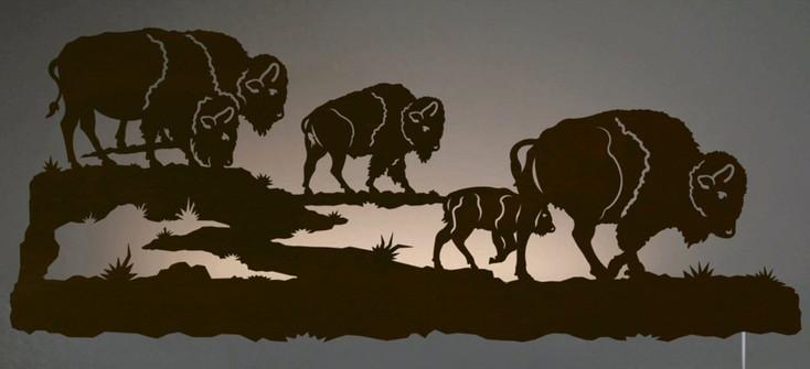 "42"" Buffalo Herd LED Back Lit Lighted Metal Wall Art"