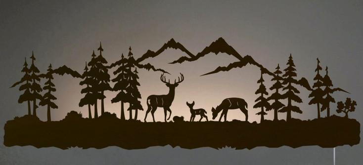 """42"""" Deer Family LED Back Lit Lighted Metal Wall Art"""