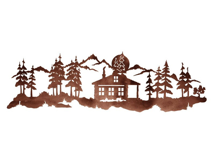 """42"""" Cabin in Pine Forest Metal Wall Art"""