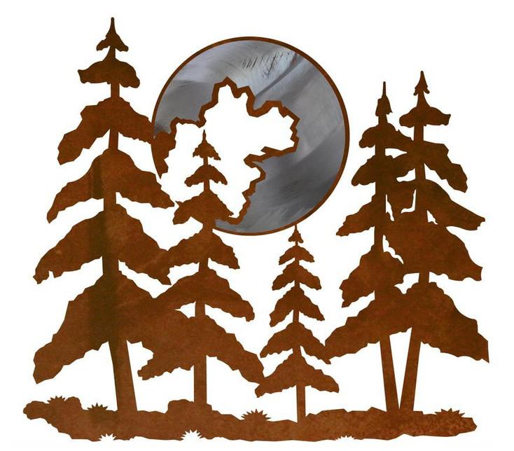 "20"" Pine Trees and Moon Metal Wall Art"