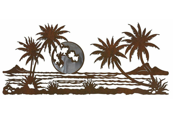 """57"""" Palm Trees with Ocean View Burnished Metal Wall Art"""