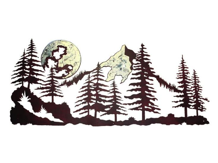 "57"" Mountain Scene with Moon Metal Wall Art"
