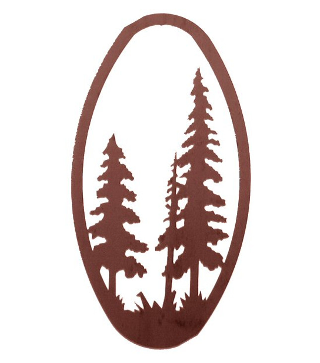 "22"" Pine Trees Oval Metal Wall Art"