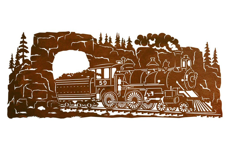 "42"" Steam Locomotive Train Scenic Metal Wall Art"