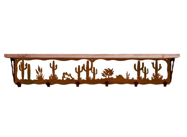 "42"" Desert Scene Metal Wall Shelf and Hooks with Pine Wood Top"