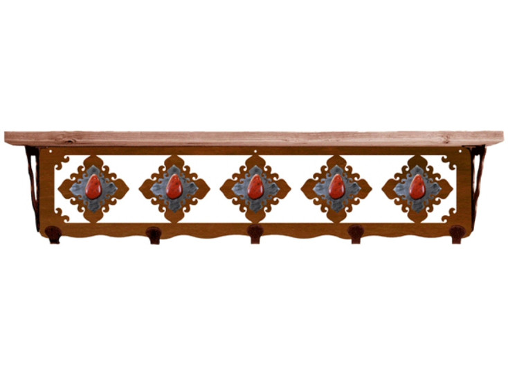 """34"""" Red Jasper Stone Metal Wall Shelf and Hooks with Pine Wood Top"""