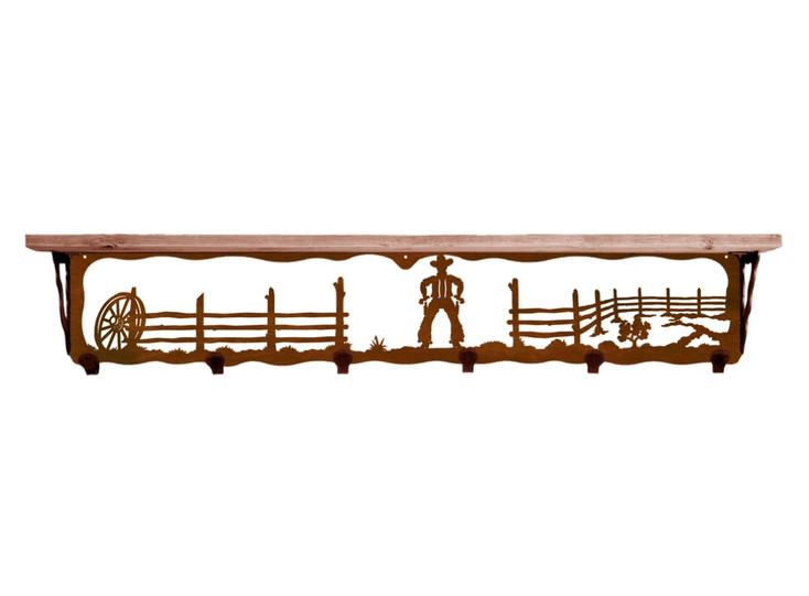 "42"" Cowboy Scene Metal Wall Shelf and Hooks with Pine Wood Top"