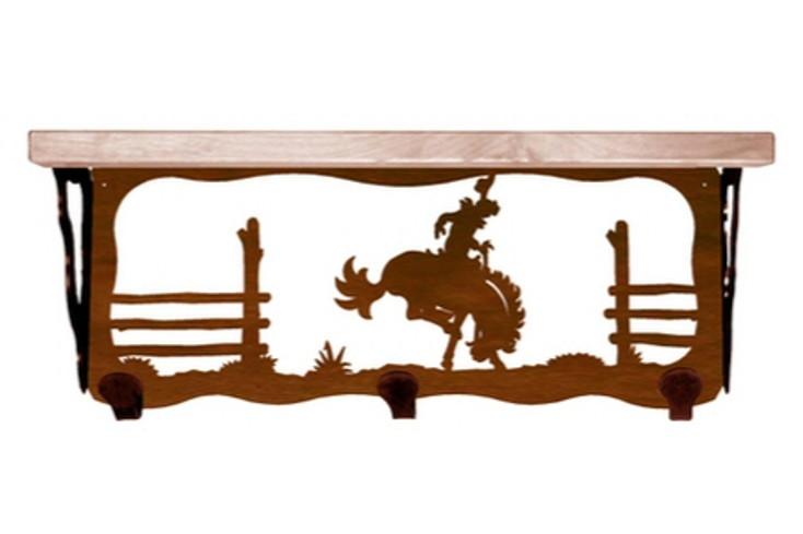 "20"" Bucking Bronco Rider Metal Wall Shelf and Hooks with Pine Wood Top"