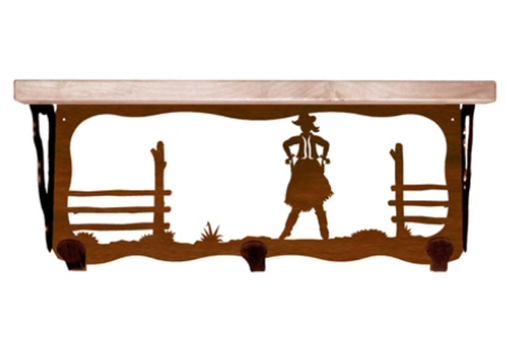 """20"""" Cowgirl Scene Metal Wall Shelf and Hooks with Alder Wood Top"""