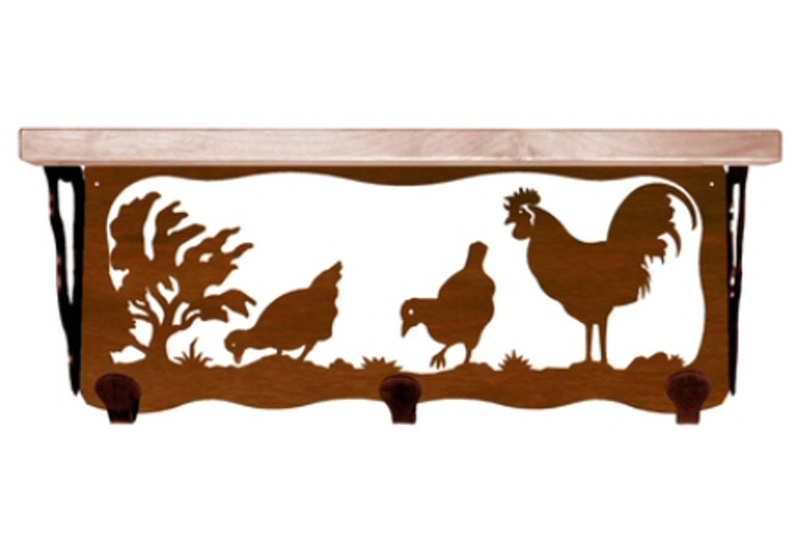 """20"""" Rooster Bird Metal Wall Shelf and Hooks with Alder Wood Top"""