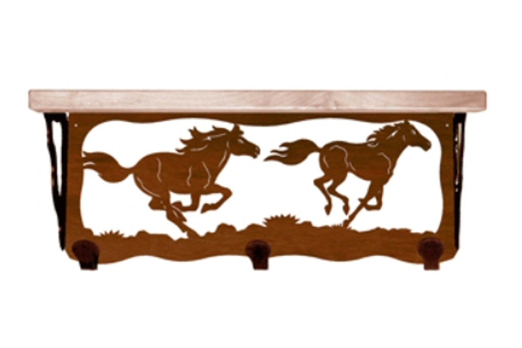 """20"""" Wild Horses Metal Wall Shelf and Hooks with Pine Wood Top"""