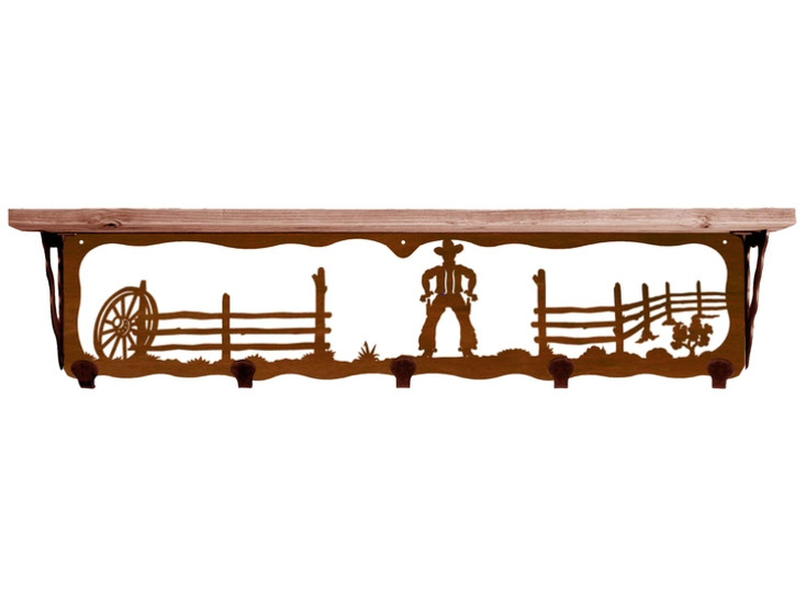 "34"" Cowboy Scene Metal Wall Shelf and Hooks with Alder Wood Top"
