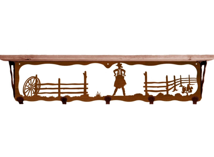 """34"""" Cowgirl Scene Metal Wall Shelf and Hooks with Pine Wood Top"""