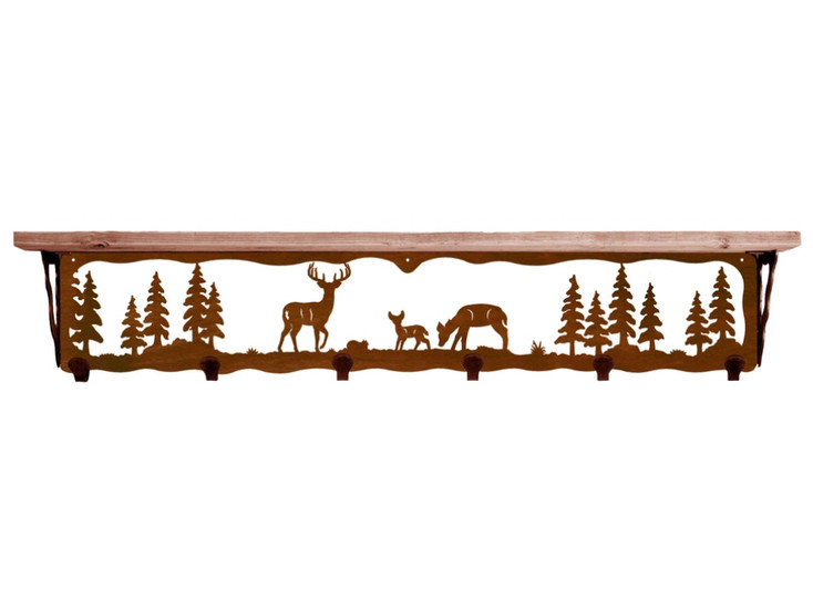 "42"" Deer Family Metal Wall Shelf and Hooks with Pine Wood Top"