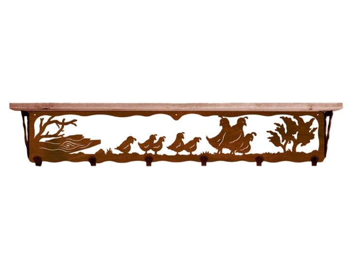 """42"""" Quail Family Metal Wall Shelf and Hooks with Alder Wood Top"""