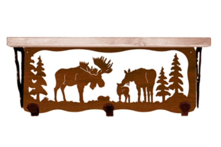 """20"""" Moose Family Metal Wall Shelf and Hooks with Alder Wood Top"""