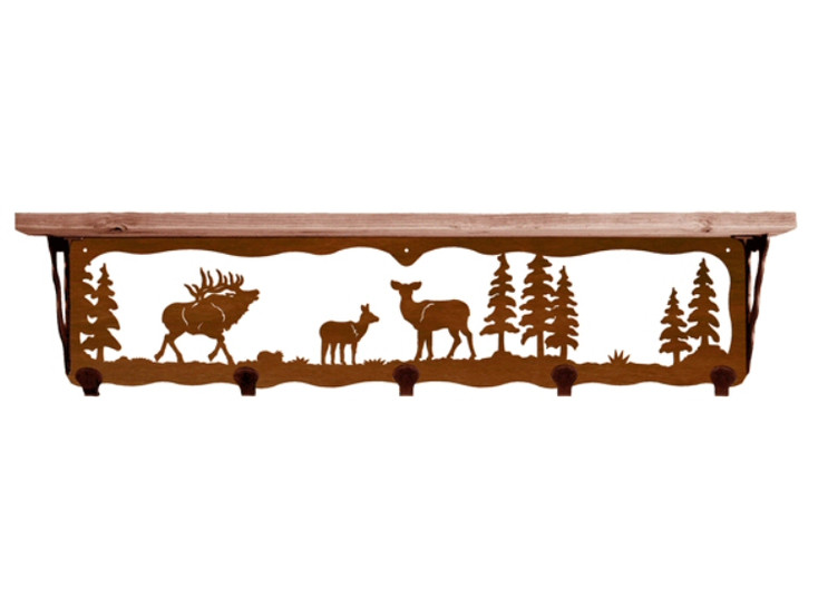 """34"""" Elk Family Metal Wall Shelf and Hooks with Alder Wood Top"""