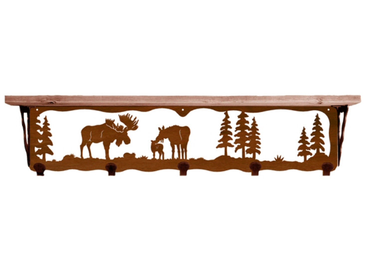 """34"""" Moose Family Metal Wall Shelf and Hooks with Pine Wood Top"""