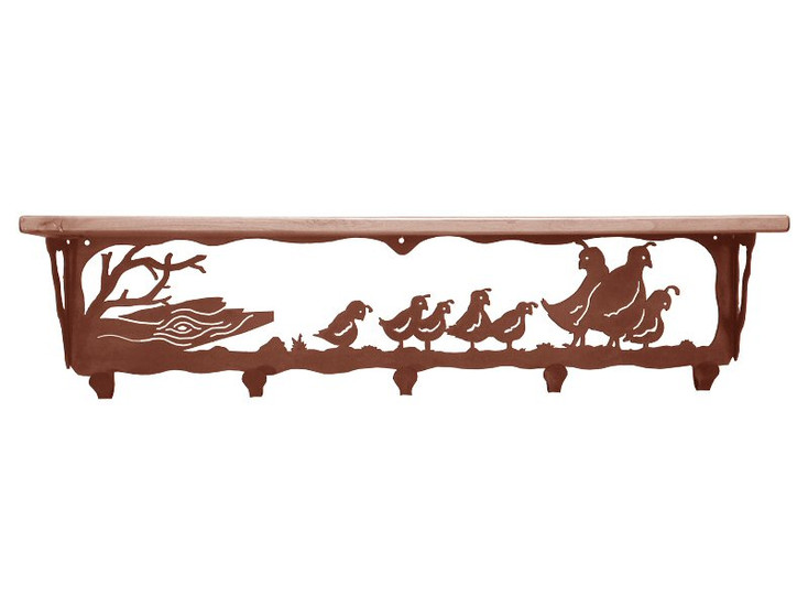 "34"" Quail Family Metal Wall Shelf and Hooks with Pine Wood Top"
