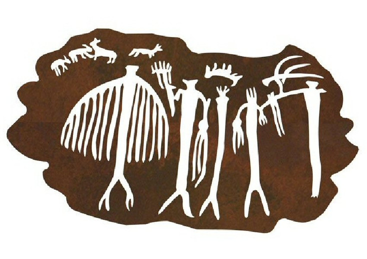 "40"" San Rafael Shaman Petroglyph Metal Wall Art"