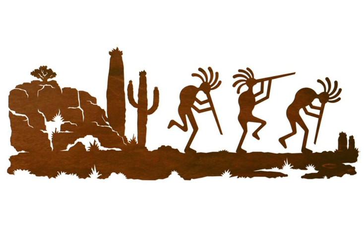 "42"" Dancing Kokopellis Desert Scene Metal Wall Art"