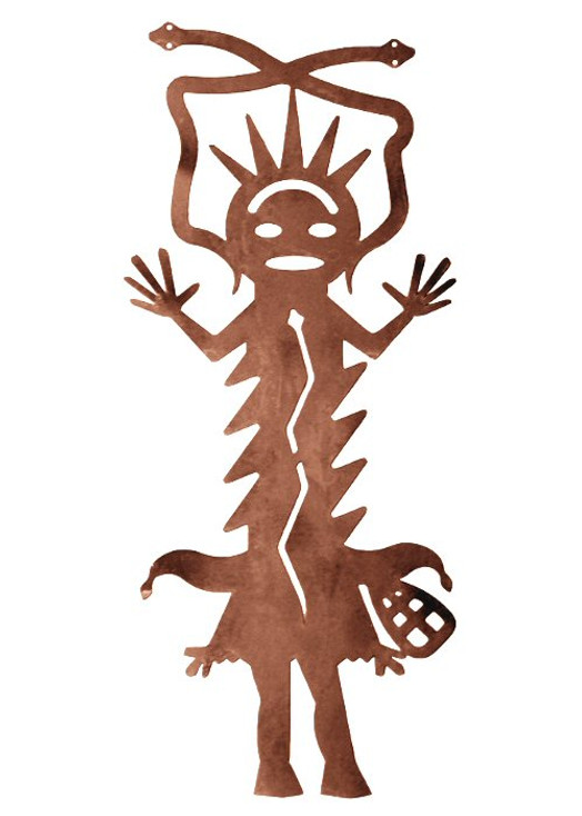"""30"""" Kachina with Hands Pointing Up Metal Wall Art"""