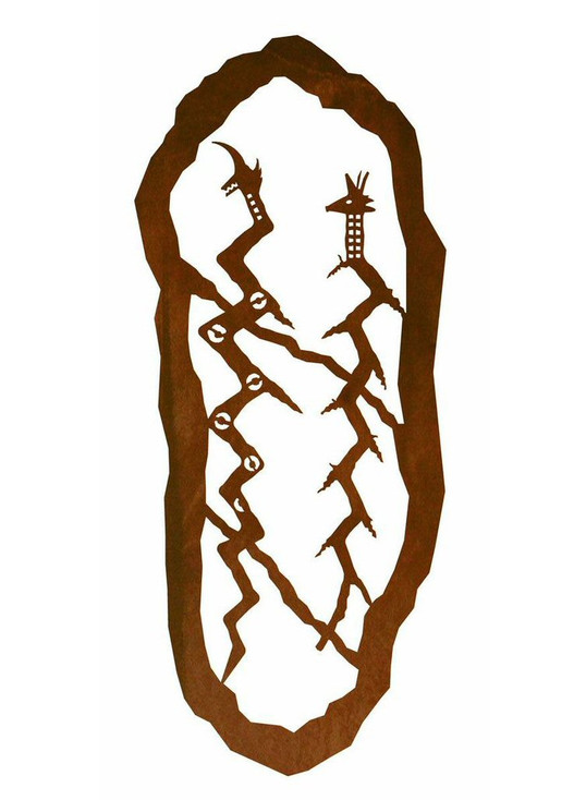 "42"" Petroglyph Feathered Serpents Metal Wall Art"