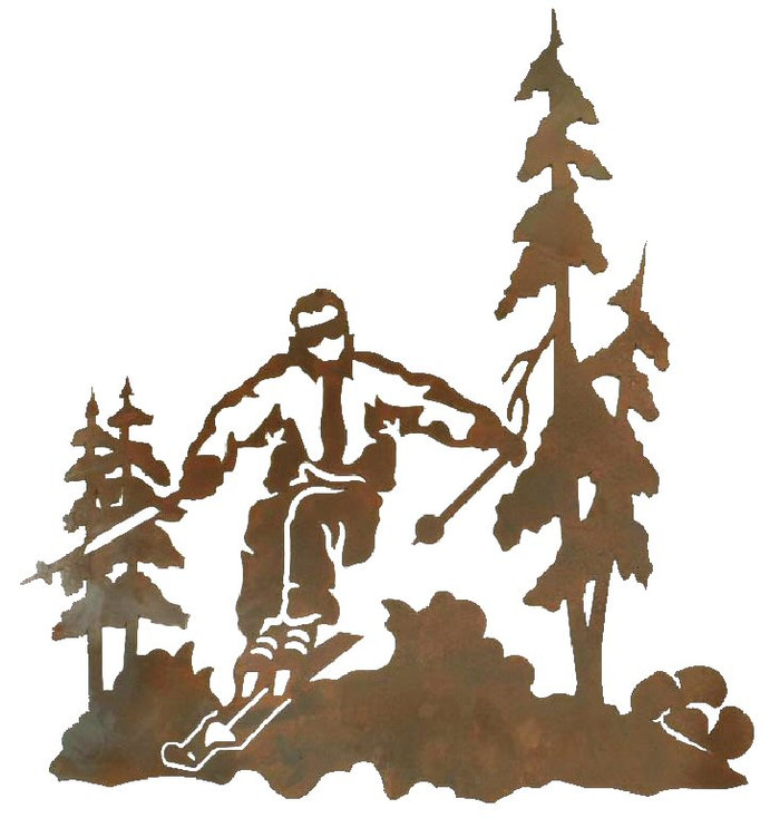 "30"" Skier Metal Wall Art"