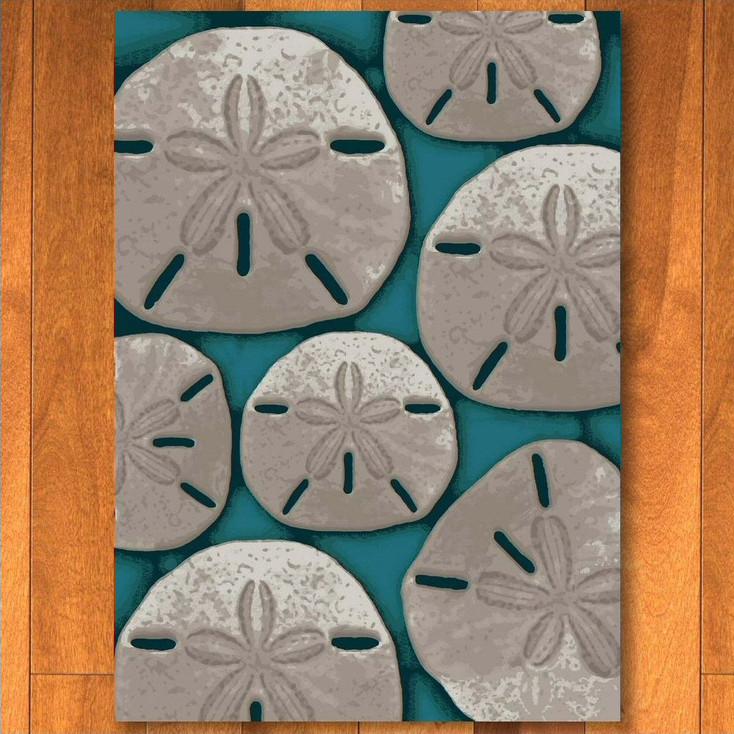 3' x 4' Ocean Treasure Aqua Rectangle Scatter Rug