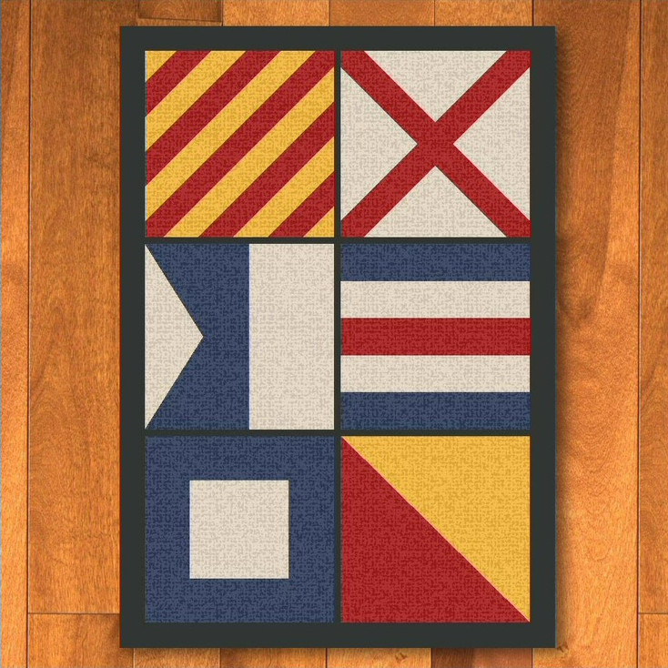 3' x 4' Nautical Signal Flag Rectangle Scatter Rug