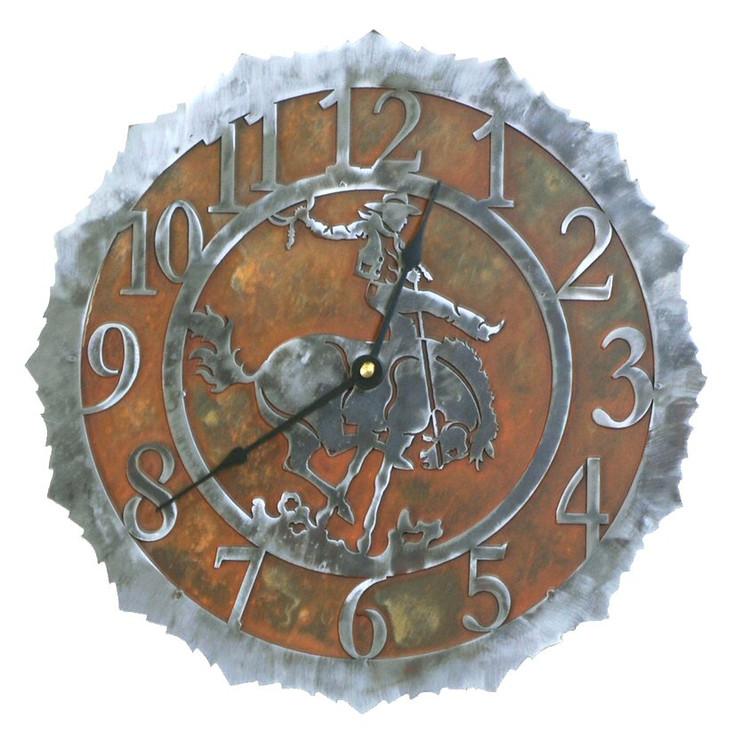 "12"" Bucking Bronco Rider Metal Wall Clock"