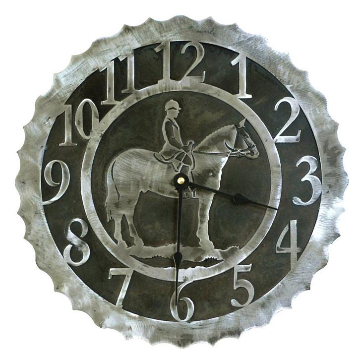 """12"""" English Horse Rider Metal Wall Clock"""